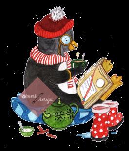 Pinguin Illu mit Logo