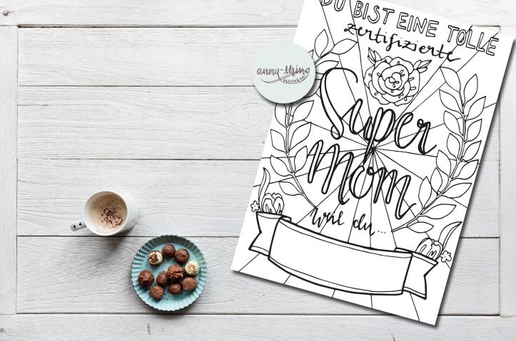 Ausmalbild Super Mom Mockup