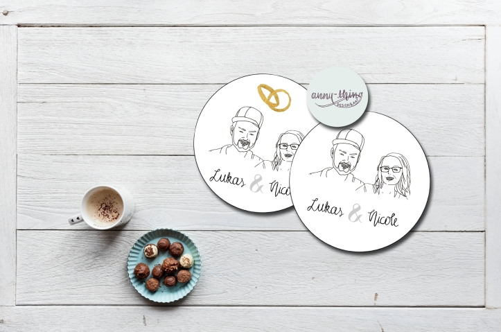 Paar Doodle-Portrait Sticker